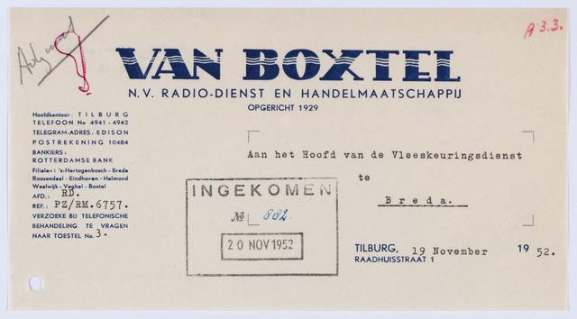 059694 - Briefhoofd. Nota van  van Boxtel N.V., Radio-Dienst en Handelmaatschappij,  Raadhuisstraat 1, voor Vleeskeuringsdienst te Breda