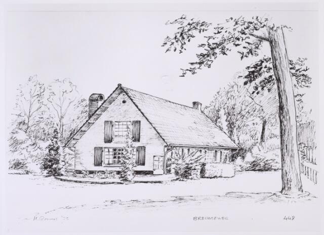 016456 - Tekening. Tekening van H. Corvers uit 1975 van het pand Bredaseweg 448