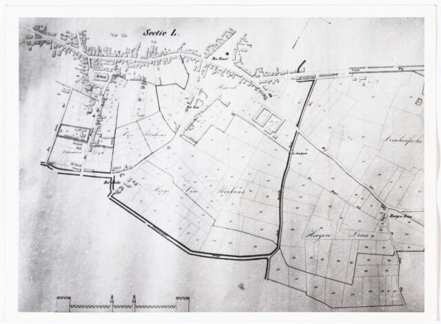 008430 - Kadasterkaart. Kaart van J.F. Hutten uit 1835 met kadastrale gegevens van de bezittingen van Koning Willem II in Tilburg (gedeelte van sectie B.) Zie foto nr. 8428