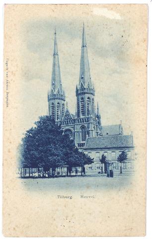 000872 - Kerk St. Jozef op de Heuvel met lindeboom en rechts hiervan de pastorie en een pomp.