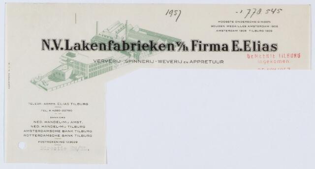 060033 - Briefhoofd. Briefhoofd van Stoom- Spinnerijen Weverijen Ververij Wolwasscherijen Apprêtuur N.V. Lakenfabrieken v/h Firma E. Elias