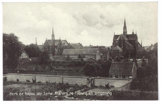 000463 - Gasthuisstraat  met de kerk en kapel van de fraters van Tilburg. Op de voorgrond tuin met Calvarieberg van het St. Jozefgesticht aan de Lange Nieuwstraat.
