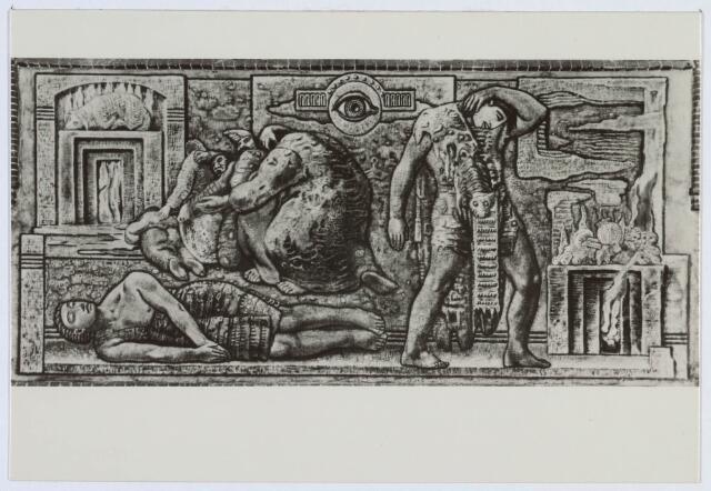 020038 - Muurschildering, getiteld ´Het offer van Kain´, gemaakt door Egbert Dekkers, in de kerk van het Heilig Hart, parochie Noordhoek