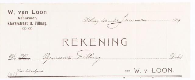 060599 - Briefhoofd. Nota van W. van Loon, aannemer, Klaverstraat 11 voor gemeente Tilburg