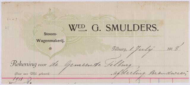 061177 - Briefhoofd. Nota van Stoom- Wagenmakerij Wed. G. Smulders voor de gemeente Tilburg