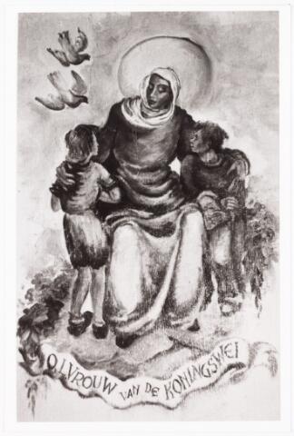 009928 - Muurschildering O.L. Vrouw van  de Koningswei in de kapel Koningswei gefotografeerd door kapelaan Soons.