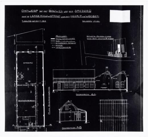 038399 - Ontwerp bouw smederij later machinefabriek P. v.d. Wegen & Zn. aan de Lange Nieuwstraat sectie N. no. 3859. De fabriek is overgeplaatst naar de Dijksterhuisstraat 47. Het bedrijf is gestart als firma Bierings - van de Wegen en rond 1913 gesplitst.