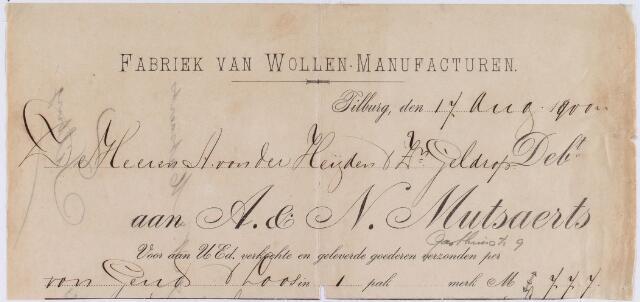 060788 - Briefhoofd. Nota van A & N Mutsaerts, fabriek van wollen-manufacturen, Gasthuisstraat 9 voor A. van der Heijden & Zn te Geldrop