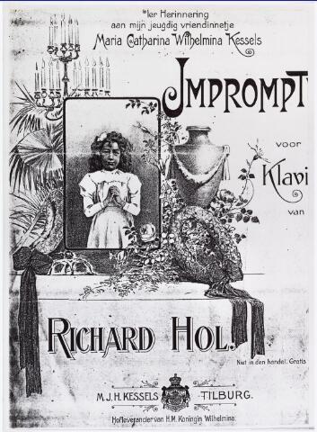 007244 - Titelblad van het Impromptu voor piano dat Richard Hol kort voor zijn dood componeerde ter nagedachtenis aan Maria Kessels. Hol was een huisvriend van de familie, zijn dochter Jacoba logeerde bij Kessels tijdens de augustusdagen in 1900. Hoewel Hol tijdens zijn laatste levensjaren als orkestleider zwaar te lijden had onder zijn gezondheid, is het Impromptu een compositie die de tand van de tijd en de krietiek blijft weerstaan.