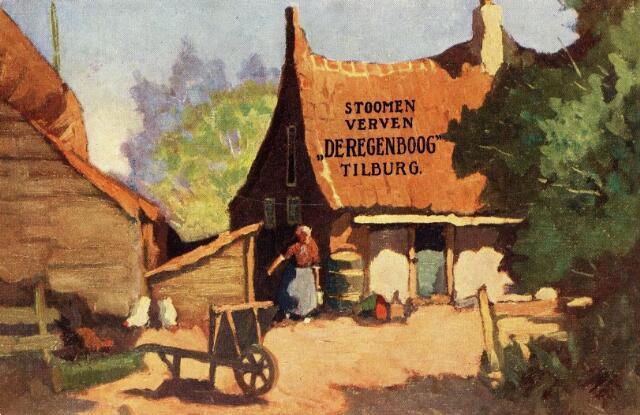601003 - Boerenerf. Reclamekaart van Stoomververijen De Regenboog aan de Bredaseweg in Tilburg.