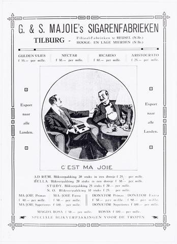039498 - Sigarenindustrie. affice Majoie Wilhelminapark. (vermoedelijk gedrukt door N.V. Naaykens drukkerij Heuvel nu te Goirle)