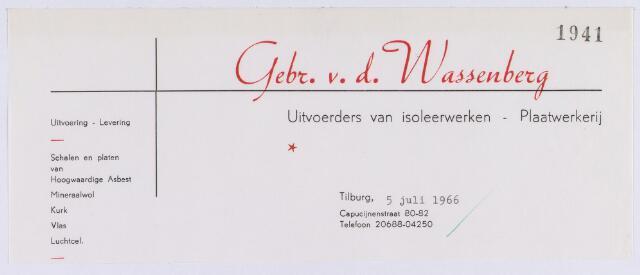 061395 - Briefhoofd. Briefhoofd van Gebr. v.d. Wassenberg, uitvoerders van isoleerwerken, Capucijnenstraat 80-82