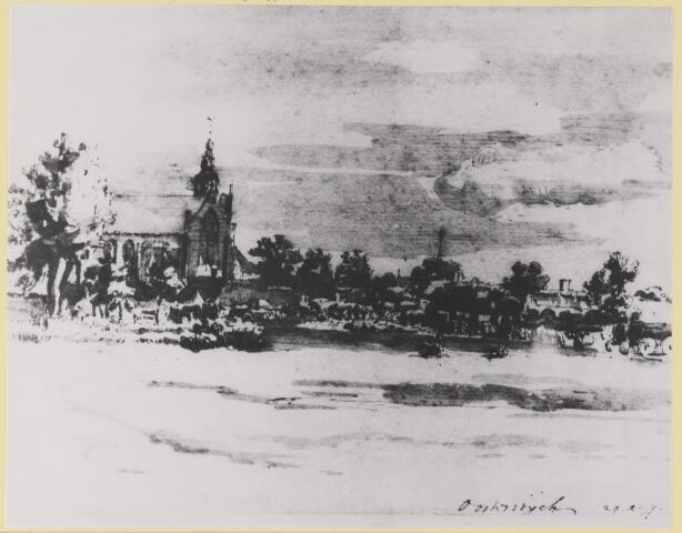 """074079 - Foto van een tekening uit 1673 van Constantijn Huygens genaamd """"De kerk en een gedeelte van het dorp Oisterwijk"""". De kerk is de Petruskerk aan de Kerkstraat. Constantijn Huygens was de broer van de vermaarde wis- en natuurkundige Christiaan Huygens. De tekening betreft de toenmalige buurtschap """"Kerkeynd""""."""