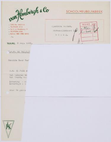 060312 - Briefhoofd. Nota van  Van Hombergh & Co, schoolmeubelfabriek, voor openbare werken, Karnemelkstraat 13, Breda