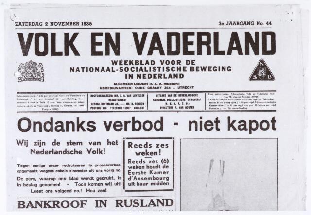 012995 - Tweede Wereldoorlog. NSB. Strijdlustige taal in Volk en Vaderland  van 2 november 1935. De krant