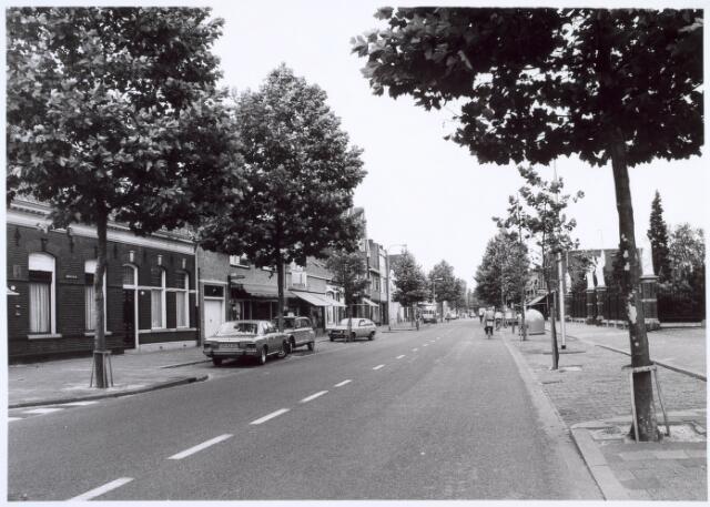019409 - Goirkestraat bezien in de richting van het Julianapark. Rechts  de beeldengalerij van het kerkhof. Links, ter hoogte van de tweede boom, het postkantoor en daarnaast een lingeriewinkel