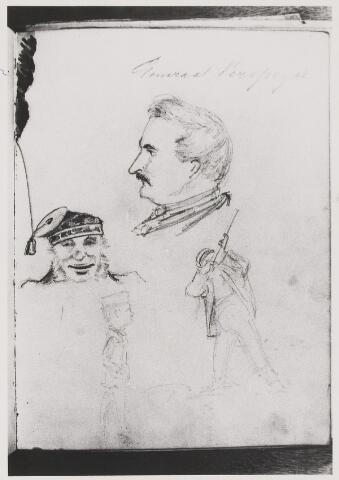 076898 - Tekening. Getekende portretten door Mr. A.H.de Balbain Verster.1830-1915 Jhr. Gustave Marie Verspeijck, geboren te Gent 19 februari 1822. Hij was een zwager van de overste Plancken. Hij was K.N.I.L. officier, Luitenant -Generaal en adjudant van Koning Willem III . Verder was hij lid van het Dagelijks Bestuur van het Rode Kruis. Hij heeft hoogstwaarschijnlijk  niet in Oisterwijk gewoond, maar hij kwam vaak bij zijn zuster op bezoek.