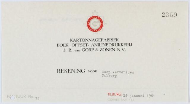 060183 - Briefhoofd. Nota van Kartonnagefabriek Boek- en Offsetdrukkerij  J.B. Van Gorp & Zonen N.V. , Goirkestraat 113 voor coöp. ververijen Koningshoeven 77