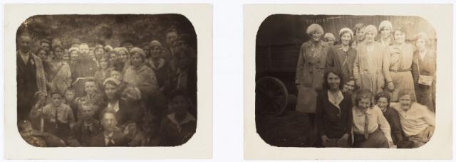 008847 - Twee groepsfoto's van deelnemers Processie Tilburg-Kevelaer. Foto links Bergen a/d Maas rechts Veghel, augustus 1931.