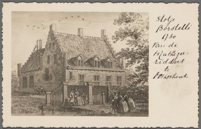 """103097 - Slotje Borsselen.""""Slotje Borsstellé 1730 van de Mathezer-ridders te Oosterhout"""" Prent door Cornelis Pronk"""