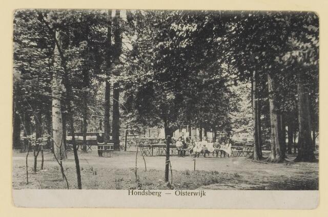 073938 - Hondsberselaan met Huize 'De Hondsberg'  een oude buitenplaats, met waterpartijen, bruggetje, kiosk, pension, restaurant, hotel en opvangtehuis voor slechtziende kinderen o.l.v. dr. Aussems.