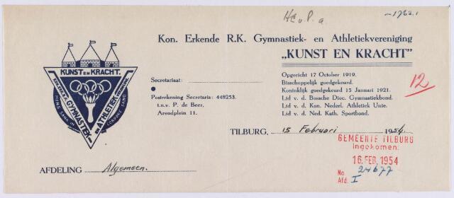 """061488 - Briefhoofd. Verenigingen. Briefhoofd van de koninklijk erkende R.K. Gymnastiek- en Athletiekvereniging """"Kunst en Kracht"""", Arendplein 11"""