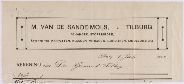 061023 - Briefhoofd. Nota van M. van de Sande-Mols, behanger en stoffeerder, St. Josephstraat 114 voor de gemeente Tilburg