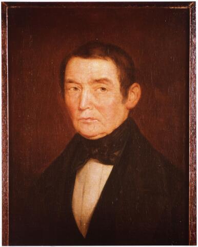 008351 - Schilderij. Het oudste bekende portret van een Tilburgse onderwijzer is dit van Francis Rijckers (1783-1869) was schoolonderwijzer van de tweede rang op de bijschool op Korvel. Zijn jaarsalaris, exclusief het schoolgeld (vijftien cent per leerling per maand), bedroeg honderddertig gulden. Aangezien hij niet zoals zijn collega's over een vrije woning beschikte, ontving hij nog eens vijftig gulden huur als vergoeding en vijftig gulden als huur voor de door hem zelf gebouwde school(part.coll).Br 1840 129 benoemd 29 april 1817 28 jaar oud dan onderwijzer te Cromvoirt.