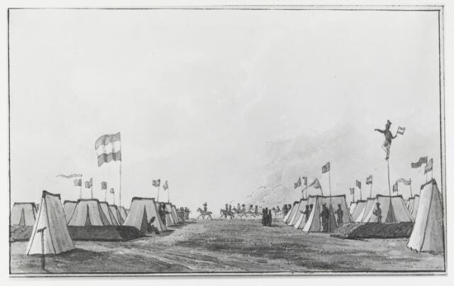 056081 - Gravure. Belgische Opstand. Militaire kampen. Prins Frederik te paard in het kamp Rijen