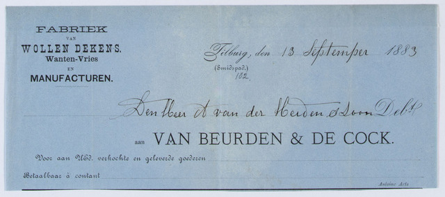 059621 - Briefhoofd. Nota van Van Beurden & de Cock, Fabriek van Wollen Dekens. Wanten- Vries en Manufacturen, voor de heer A van der Heiden en zoon