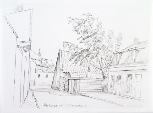014061 - Tekening. Akkerstraat, met op de achtergrond de St.-Annastraat. Tekening van H. Corvers
