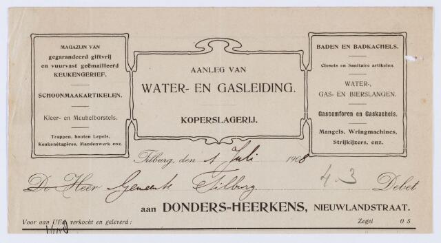 059917 - Briefhoofd. Nota van Donders/Heerkens, aanleg van water/ en gasleiding, Nieuwlandstraat voor de gemeente Tilburg