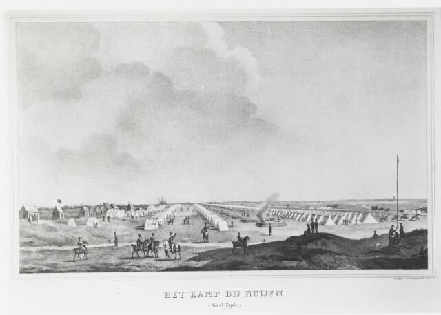 056080 - Gravure. Belgische Opstand. Militaire kampen. Westzijde van het kamp Rijen