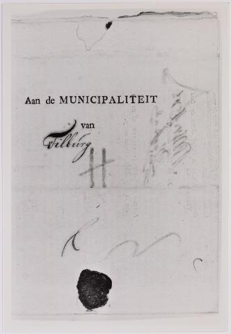 041655 - Postbrieven. Envelop van een brief van Vlaardingen gericht aan de Municipaliteit van Tilburg.
