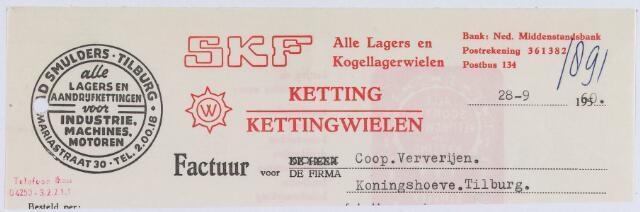 061130 - Briefhoofd. Nota van Ad Smulders, Mariastraat 30, handel in lagers en kogellagerwielen voor Coöp. Ververijen, Koningshoeve
