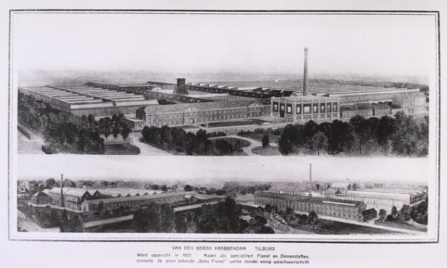 023310 - Textiel. Het enorme complex van wollenstoffenfabriek Van den Bergh - Krabbendam in 1913. Boven de voorkant, met bij de schoorsteen de machinekamer