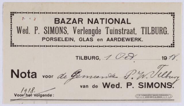 061095 - Briefhoofd. Nota van Bazar National Wed. P. Simons, Verlengde Tuinstraat, poselein, glas en aardewerk voor de gemeente Tilburg