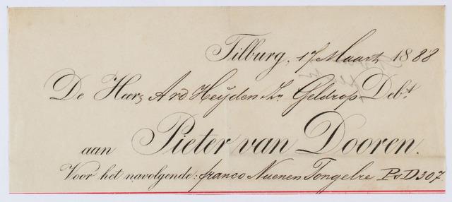 059960 - Briefhoofd. Nota van Pieter van Dooren, Spinnerij van Wollen garens voor tapijten voor A.v.d. Heijden Zn Geldrop
