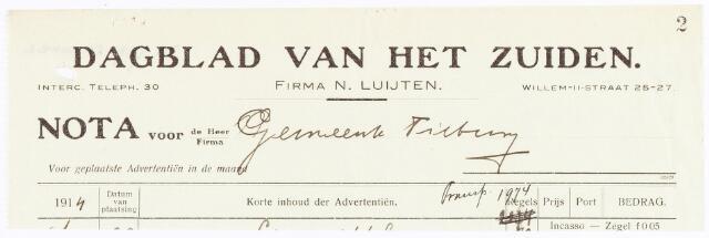 060624 - Briefhoofd. Nota van Dagblad van het Zuiden, firma N. Luijten, Willem-II-straat 25-27, voor de gemeente Tilburg