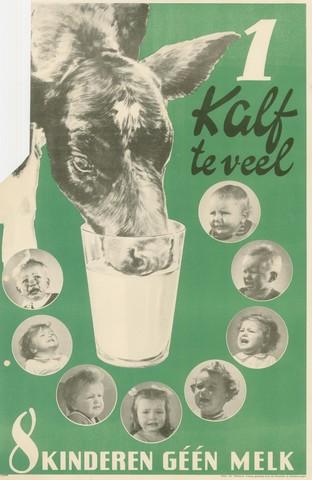 """1726_093 - Affiche Tweede Wereldoorlog.   In 1942 wordt de actie """"1 kalf te veel - 8 kinderen geen melk"""" gelanceerd. Na de strenge winter van 1941-1942 is de vetvoorraad danig geslonken. De actie is er op gericht de koeien zoveel mogelijk voor de melkproductie voor de bevolking te gebruiken.,   Afmeting: 30x46 cm, Drukker onbekend.  WOII. WO2."""