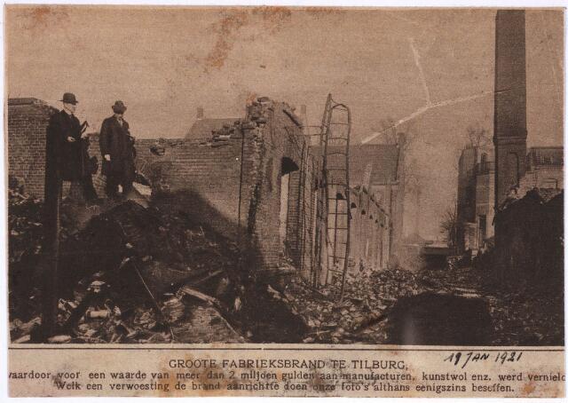 031563 - Brand: op 11 januari 1921 is het fabriekspand aan de Spoorlaan 86 van J.v.Hoof vh Jansssen. Tulder afgebrand