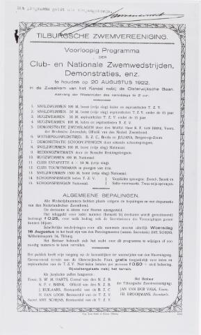 054478 - Sport. Zwemmen. Programma van Club-en Nationale zwemwedstrijden op 20 augustus 1922 van de Tilburgsche Zwemvereeniging