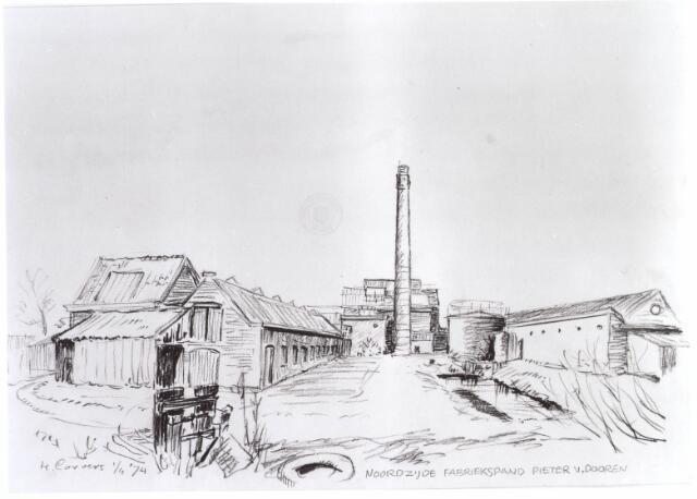 022135 - Tekening. Textiel. Tekening van H. Corvers van de noordzijde van het fabriekscomplex van Pieter van Dooren aan de Hilvarenbeekseweg