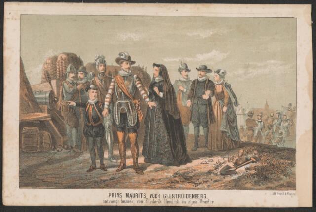 651008 - Legerkamp van prins Maurits voor Geertruidenberg 1593. Prins Maurits voor Geertruidenberg ontvangt bezoek van Frederik Hendrik en zijne moeder. 1874. Kleurenlitho. Uit vrijheidszin en dwingelandij. Aangekocht 1975  bij J.C. Jegerings te Nuenen. 14,5 x 21 cm.