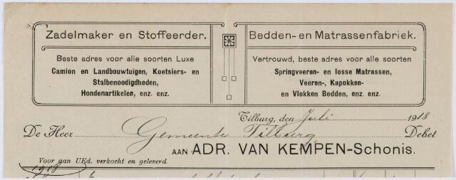 060432 - Briefhoofd. Nota van Zadelmaker en stoffeerder Adr. v. Kempen-Schonis voor gemeente Tilburg