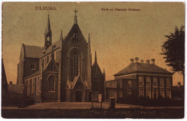 002103 - De Schans, voorheen de  Heikant. Links de in 1873 gebouwde vierde parochiekerk van Tilburg toegewijd aan O.L.V. Onbevlekte Ontvangenis. Bouwpastoor was L.G. v.d. Steen. De eerste kerkmeesters waren J. Claessen en Walterus Teurlings. In het bouwjaar telde de Heikant 1300 communicanten. De kerk werd pas geconsacreerd op 23.6.1879 door mgr. Godschalks. Ter gelegenheid hiervan verkocht koster Aarts plaatsbewijzen voor 30 á 50 cent. Het torentje werd pas in 1893 op de kerk geplaats en bood plaats aan twee klokken. Naast de kerk de in 1874 gebouwde pastorie naar een ontwerp van architect Hendrik van Tulder. In 1893 luidde de pastoor de noodklok, nadat Piet Stamps met een steen een ruit van de pastorie had ingegooid.    Een twintigtal wevers schoot de pastoor te hulp. Zij gingen met stokken Peer Stamps te lijf. De koos het hazenpand, maar werd later in de Goirkestraat door de politie gearresteerd.