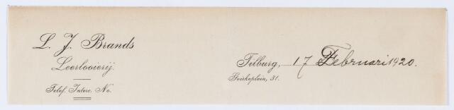 059715 - Briefhoofd. Briefhoofd van L. J. Brands, Leerlooierij, Goirkeplein 31