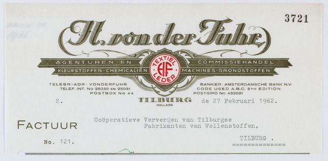 """060117 - Briefhoofd. Nota van H. von der Fuhr, agenturen en commissiehandel, voor Co""""operatieve  Ververijen van Tilburgse Fabrikanten van Wollenstoffen"""