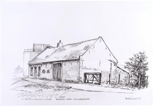 015803 - Tekening. Pand Boomstraat 140, op de hoek met de Prunusstraat. Het werd bewoond door de familie Groenen - Van Roesel. Tekening van H. Corvers uit 1975