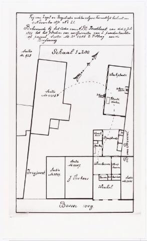 007784 - Tekening. Tekening behorende bij adres P.C.Roothaert d.d. 4.7.1899 houdende het verzoek om een gasmotor van 2 p.k. te mogen plaatsen op perceel kad. M sectienr. 4456 aan de Bosscheweg. Tekst op de tekening: vrij van Zegel en Registratie rechten volgens Koninklijk Besluit van 4 november 1875 N21. Behoorende bij het adres van A.P.C. Roothaert van d.d. 4 juli 1899 tot het plaatsen van een gasmeter van 2 paardenkrachten op perceel sectie U nr 4456  te Tilburg aan de Bosgerweg. Sectie U 928 .